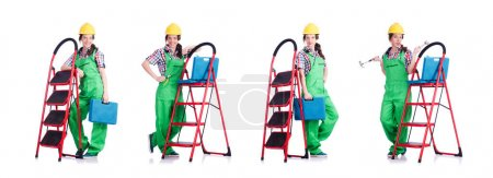 Photo for The woman repair worker with ladder - Royalty Free Image