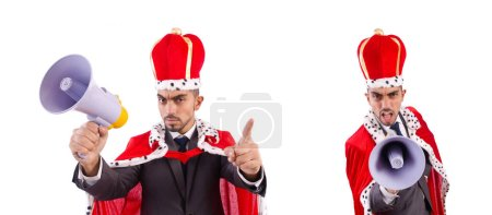 Photo pour The king businessman with loudspeaker isolated on white - image libre de droit