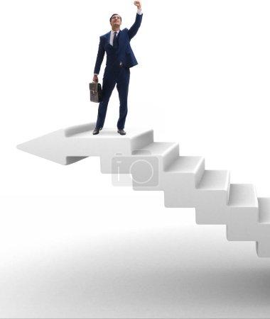 Photo pour L'échelle de carrière d'escalade d'homme d'affaires dans le concept d'affaires - image libre de droit