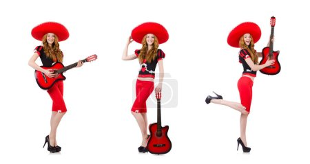 Photo pour The woman guitar player with sombrero on white - image libre de droit