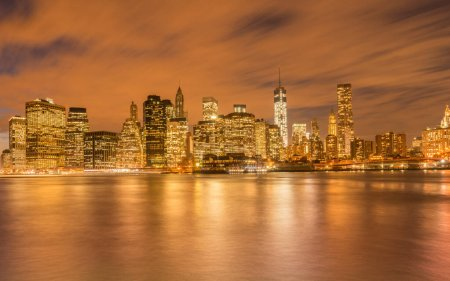 Photo pour The view of lower manhattan from brooklyn - image libre de droit