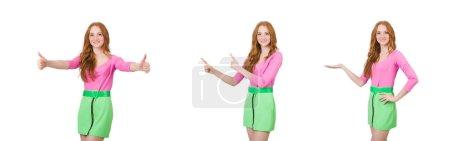 Photo pour La femme qui donne les pouces isolés sur blanc - image libre de droit