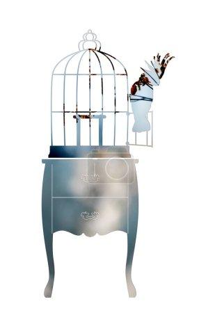 Photo pour Double exposition avec une silhouette d'une élégante commode et une cage d'oiseau. Cacatoès est assis sur la cage ouverte de porte. - image libre de droit