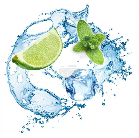 Photo for Ice cubes, mint leaves, water splash and lime isolated on a white background. Mojito - Royalty Free Image