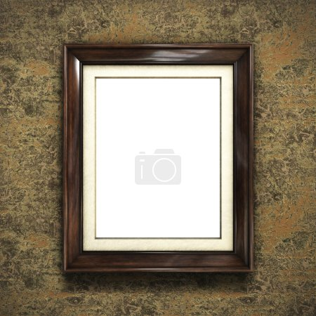Photo for Wooden frame on color wallpaper background. 3D rendering - Royalty Free Image