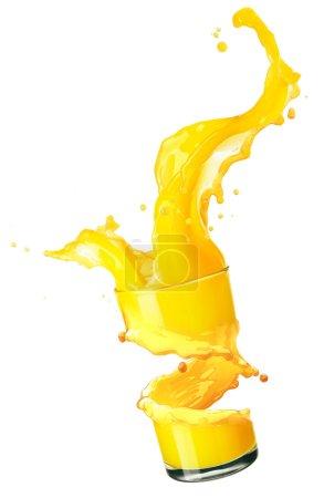Photo for Orange juice splash isolated on white - Royalty Free Image