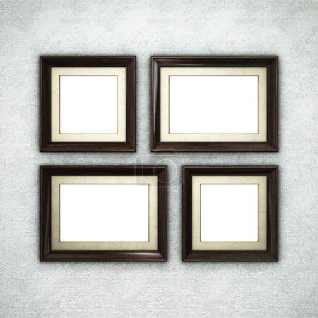 Wooden frame on wallpaper