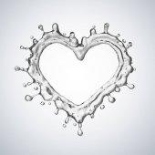 Srdce z vody splash s bubliny izolovaných na bílém