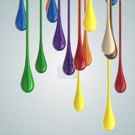 3D color glossy paint drop blobs