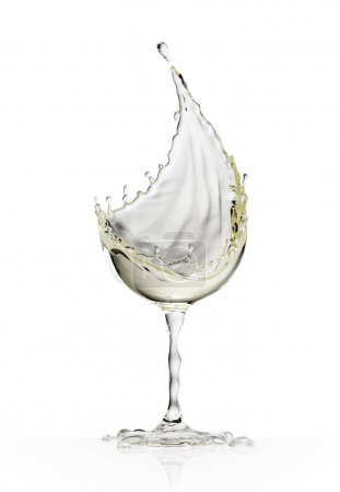 White wine glass on a white background
