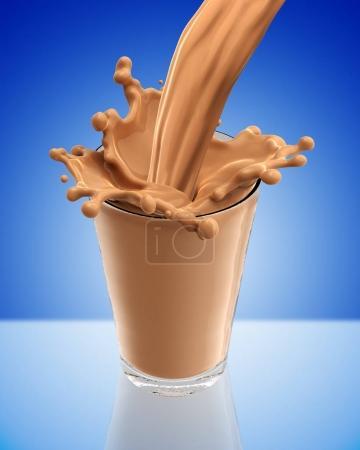 Splash of chocolate milk from the glass