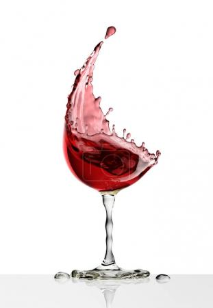 Photo for Red wine glass on a isolated white background. 3d rendering - Royalty Free Image