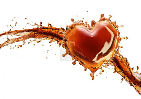 Heart from cola splash with bubbles isolated on white