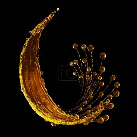 3D detailed illustration of a drop of water gold color.