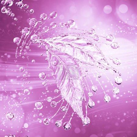 Leaf made of water splash. Pink color