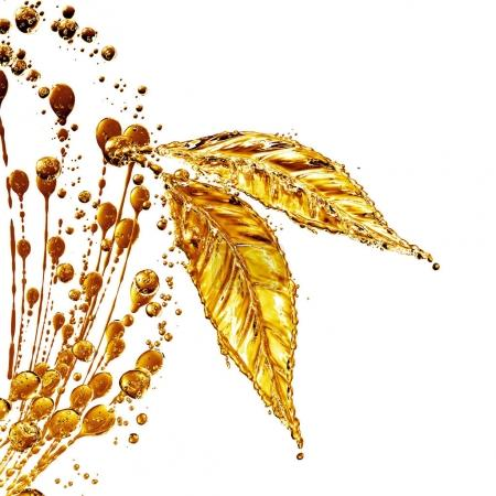 Photo for 3D detailed illustration of a drop of water gold color. White background - Royalty Free Image