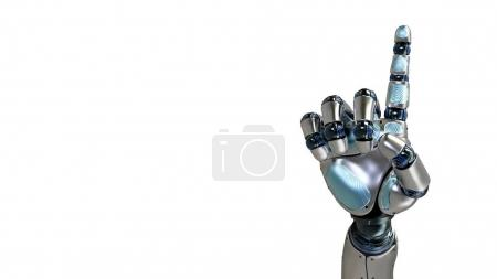 Animated robot hand counting 1 finger. Right hand. Alpha channel.