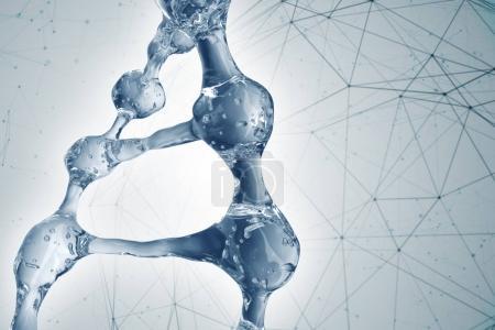 Photo pour Fond scientifique avec des molécules d'ADN. rendu 3D - image libre de droit