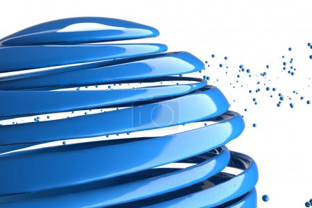 Photo for 3D striped decorative balls. Abstract 3d illustration. Blue - Royalty Free Image