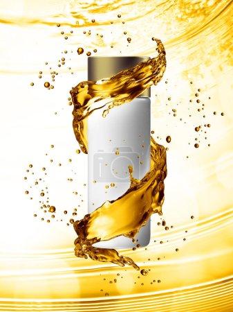 White cream bottle mock up of water splash golden color.