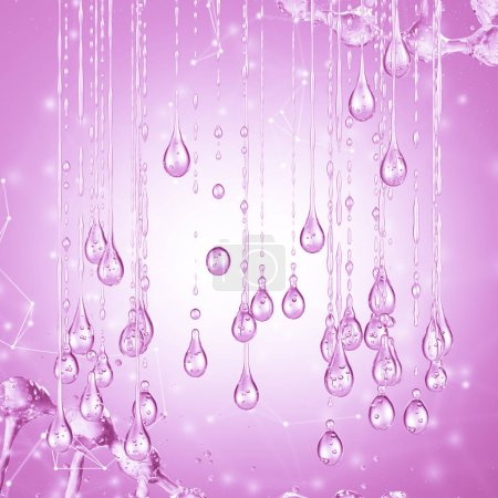 3D detailed illustration of a drop of water pink color.