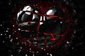 Brilliant ruby on black background. Black Crystal.