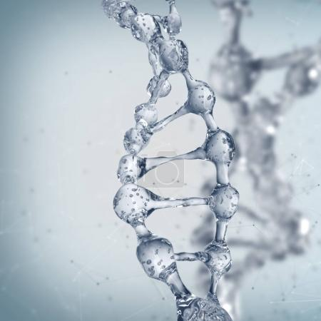 DNA molecules on the science background.
