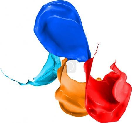 Colored paint splashes isolated on white background