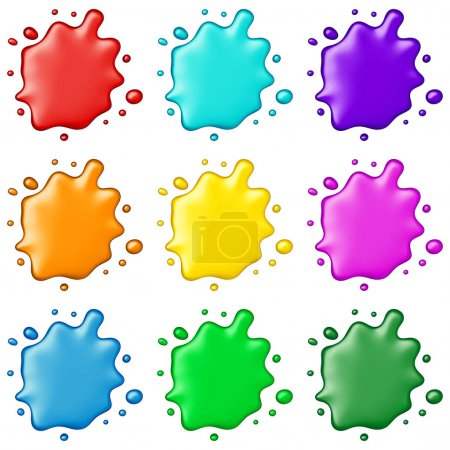 Colored paint splashes collection, isolated on white background