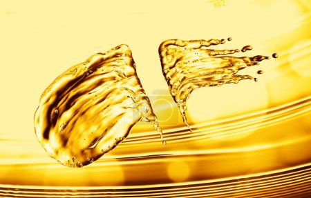 oil splash on gold bokeh background