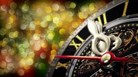 Nouvel an à minuit - vieille horloge avec flocons d'étoiles et les lumières de Noël. 4k