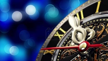 Photo pour Nouvel an à minuit - vieille horloge avec flocons d'étoiles et les lumières de Noël. rendu 3D - image libre de droit