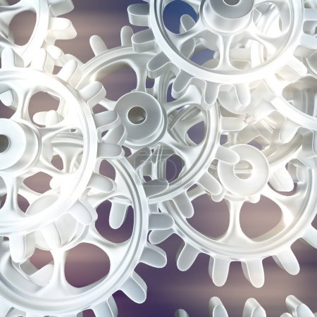 White gears and cogs macro