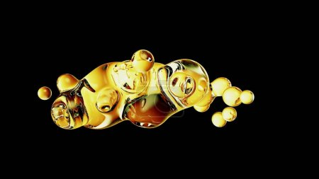 Photo for Abstract deformed figure on a black background, metaball gold color drop. - Royalty Free Image