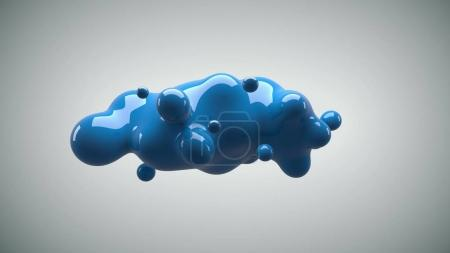 Photo for Abstract deformed figure on a white background, metaball blue color drop. - Royalty Free Image