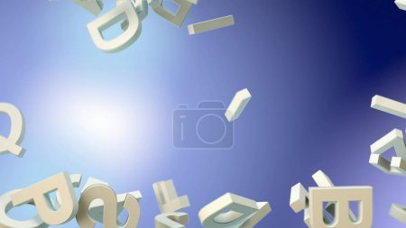 a lot of letters falling from the sky. Education and culture concept. 3d rendering