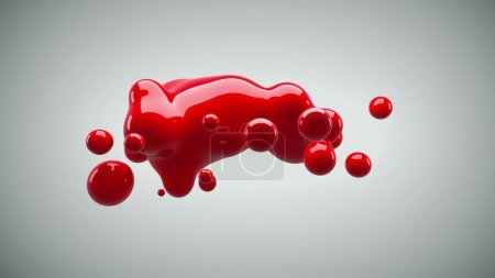 Photo for Abstract deformed figure on a white background, metaball red color drop. - Royalty Free Image
