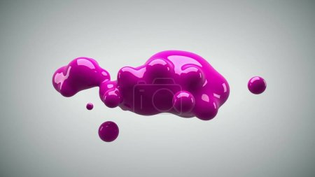 Photo for Abstract deformed figure on a white background, metaball pink color drop. - Royalty Free Image