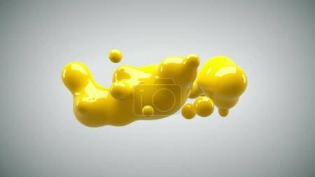 Photo for Abstract deformed figure on a white background, metaball yellow color drop. - Royalty Free Image