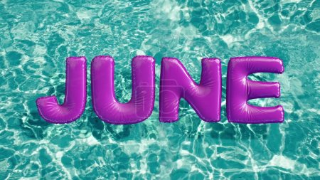 """word """"JUNE"""" shaped inflatable swim ring floating in a refreshing blue swimming pool"""
