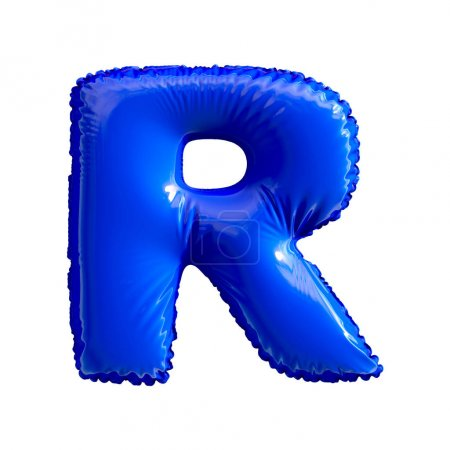 Photo for Blue letter R made of inflatable balloon isolated on white background. 3d rendering - Royalty Free Image