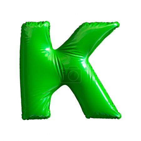 Photo for Green letter K made of inflatable balloon isolated on white background. 3d rendering - Royalty Free Image