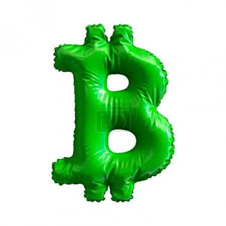 Green symbol bitcoin made of inflatable balloon isolated on white background