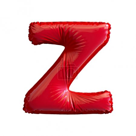 Red letter Z made of inflatable balloon isolated on white background