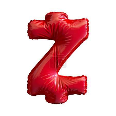 Red symbol Zcash ZEC made of inflatable balloon isolated on white background