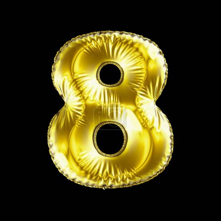 Number 8 eight made of gold balloon isolated on a black background.