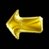 Golden arrow icon made of inflatable balloon isolated on black background.