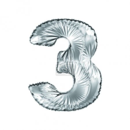 Photo for Number 3 three made of silver balloon isolated on a white background. 3d rendering - Royalty Free Image