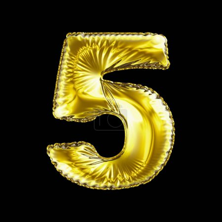 Number 5 five made of gold balloon isolated on a black background.