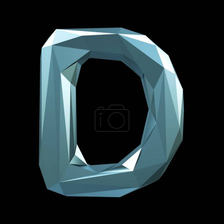 Capital latin letter D in low poly style isolated on black background